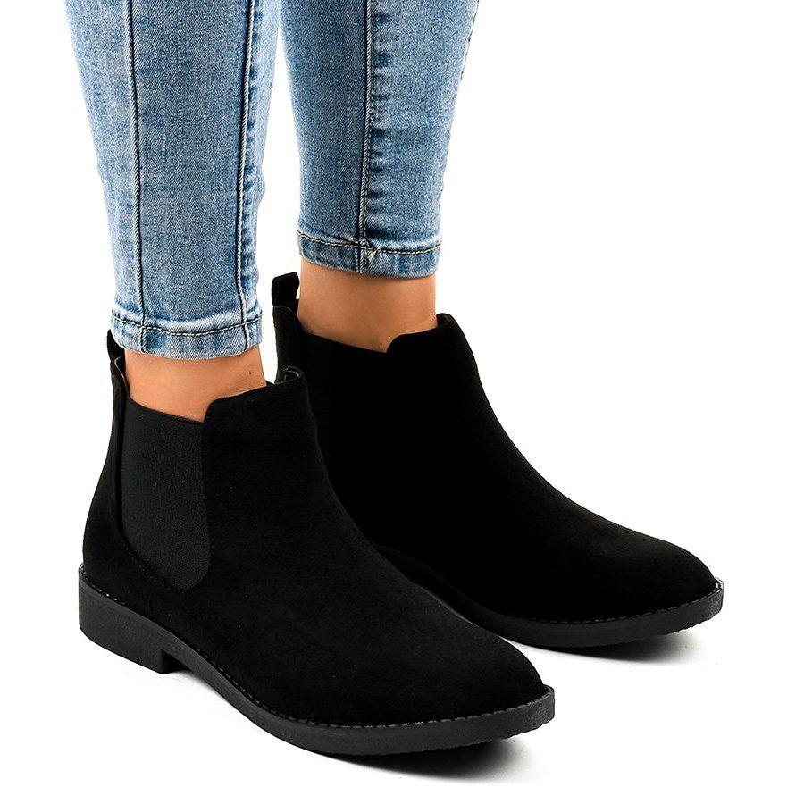 Czarne Zamszowe Plaskie Botki Z Gumka L08 155 Flat Boots Boots Suede Flat Boots