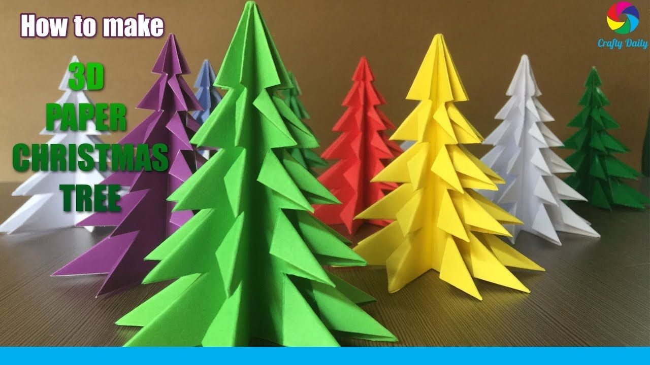 3d Paper Christmas Tree How To Make A 3d Paper Xmas Tree Diy Tutorial Youtube Paper Christmas Decorations Diy Paper Christmas Tree Origami Christmas Tree