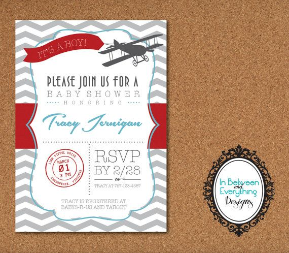 Message In the Sky DIY Printable Baby Shower Invitation - Airplane - printable baby shower invite