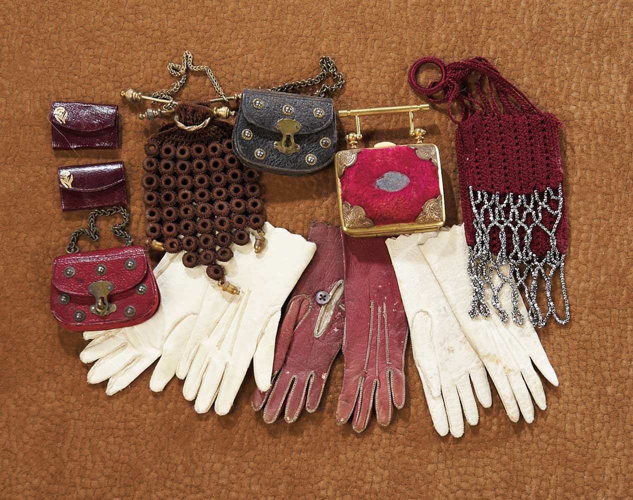 Theriault's Antique Doll Auctions-Collection of  miniature purses and gloves   French c.1870 Realized price: 1400