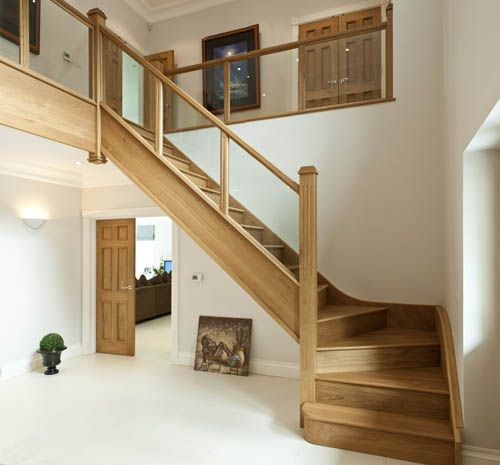 Oak Stairs With Glass And Double Bedroom Door Staircase Design