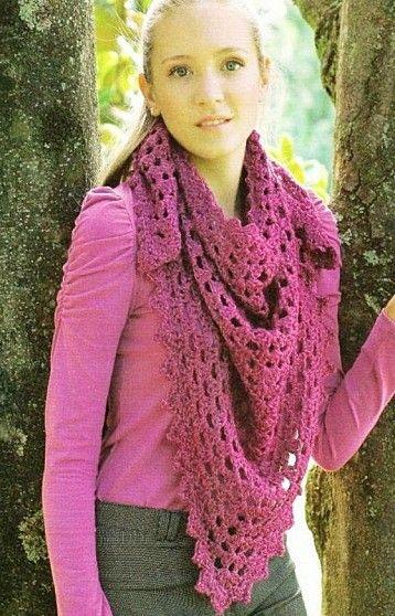 Easy Pink Shawl free crochet graph pattern