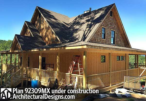 Plan 92309MX: Retreat with Full Wraparound Porch | Mountain house ...