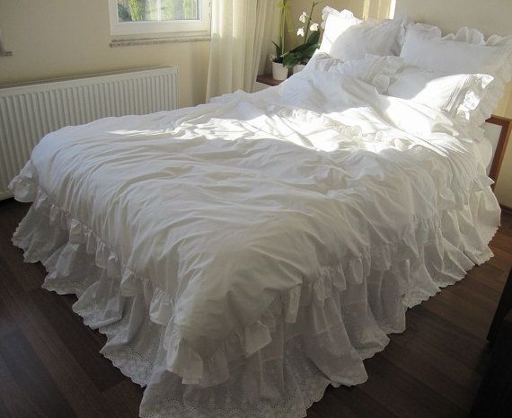 lace bed skirt bedskirt white eyelet lace cotton dust ruffle queen king bed skirt scalloped edge shabby chic romantic elegant bedding - Dust Ruffles