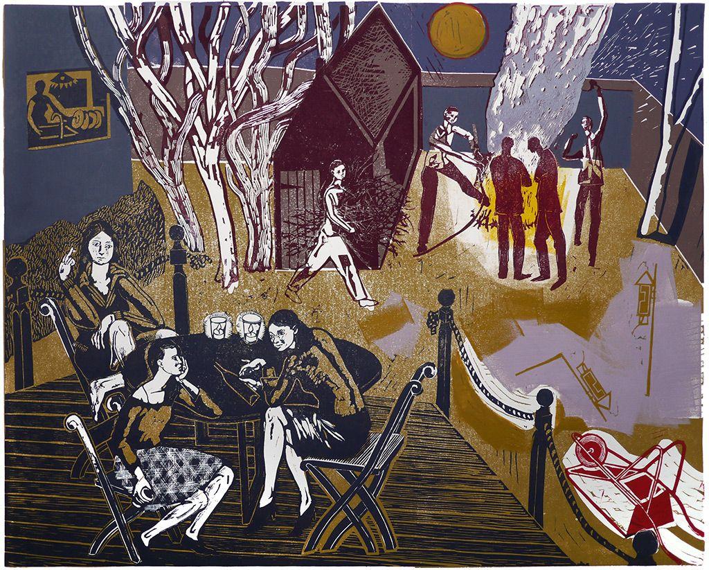 Bonfire - a linocut print by Michael Kirkman - http://www.stjudesprints.co.uk/collections/michael-kirkman/products/bonfire-10-15