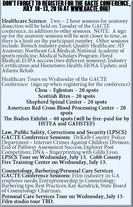 2016 GACTE Conference Sessions for Healthcare Science, Law