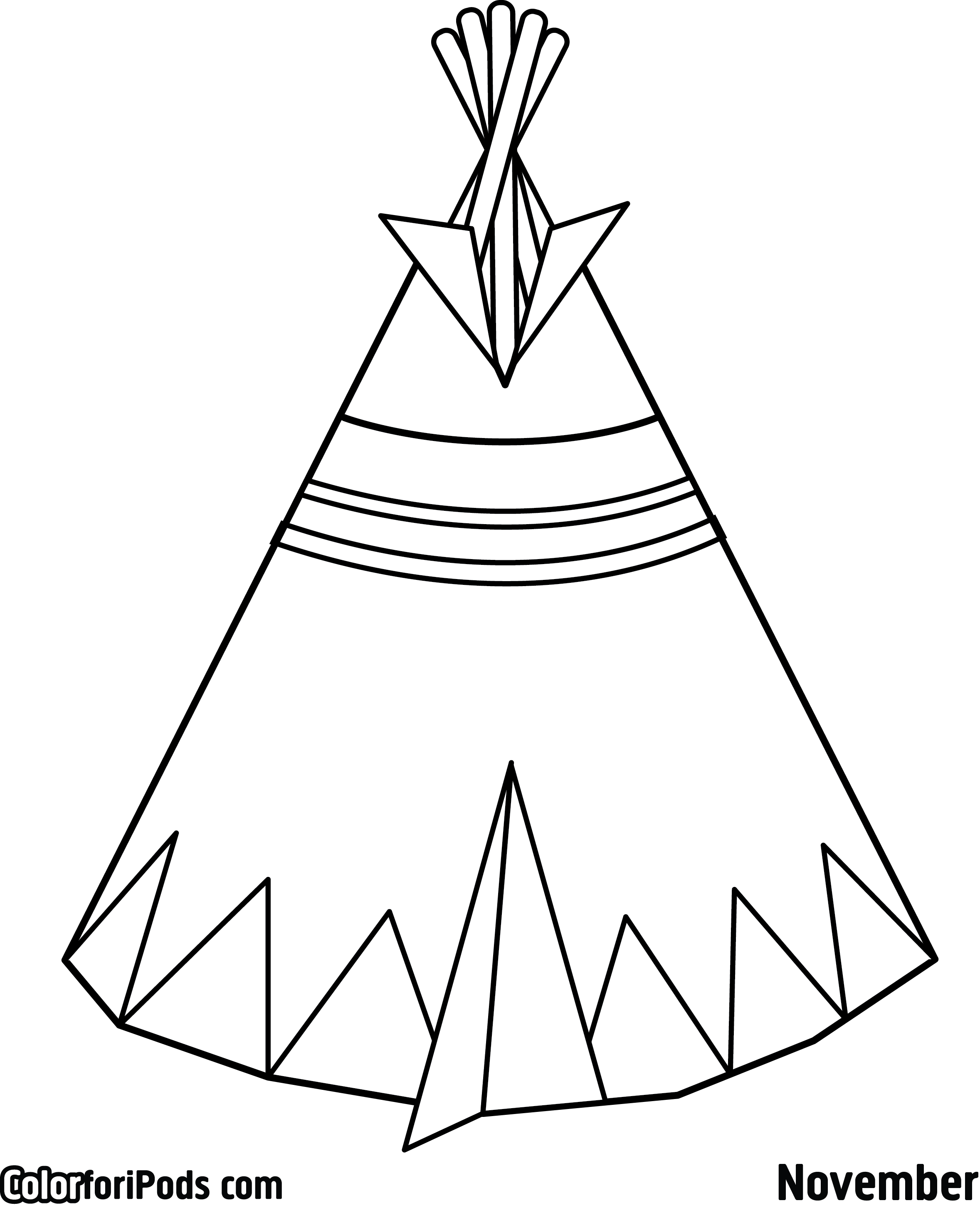 Superb Tee Pee Coloring Pages Printable With Native American