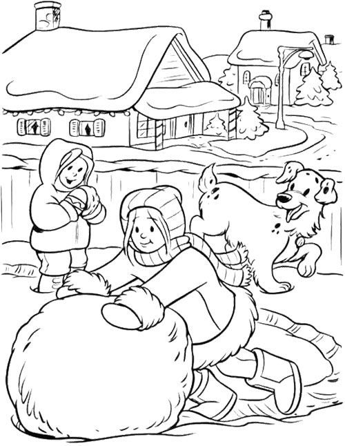 Winter Snowball Fight Coloring Page Make A Big Snowball Winter
