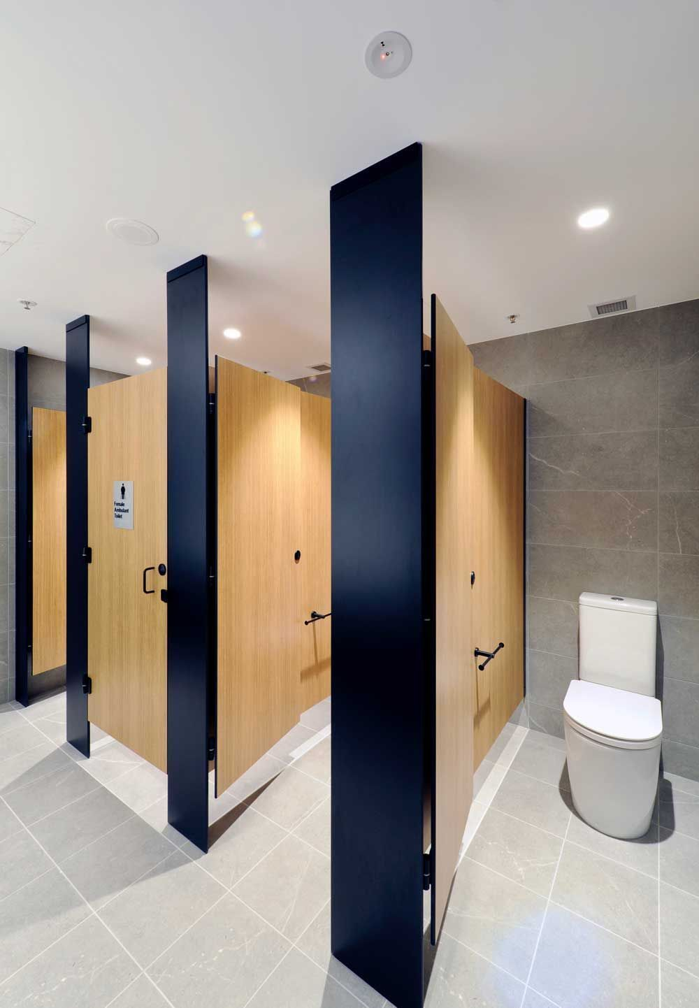 One Of Tpi S Latest Projects Floor Mounted Ceiling Fixed Design With Black Powder Coated Door Furniture Washroom Design Public Restroom Design Toilet Design