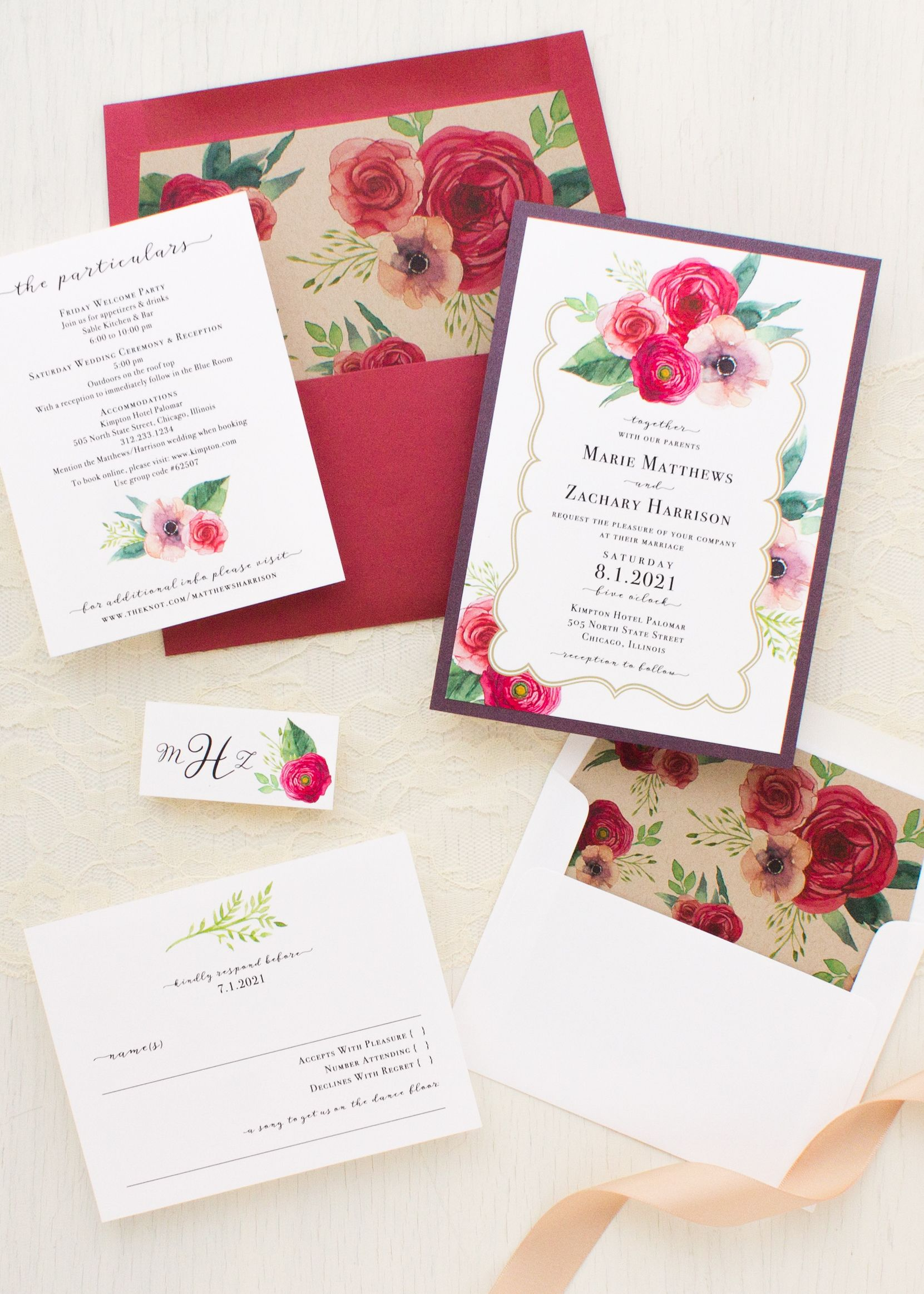 Deep Red Roses Wedding Invitations | Wedding Invitations | Pinterest ...