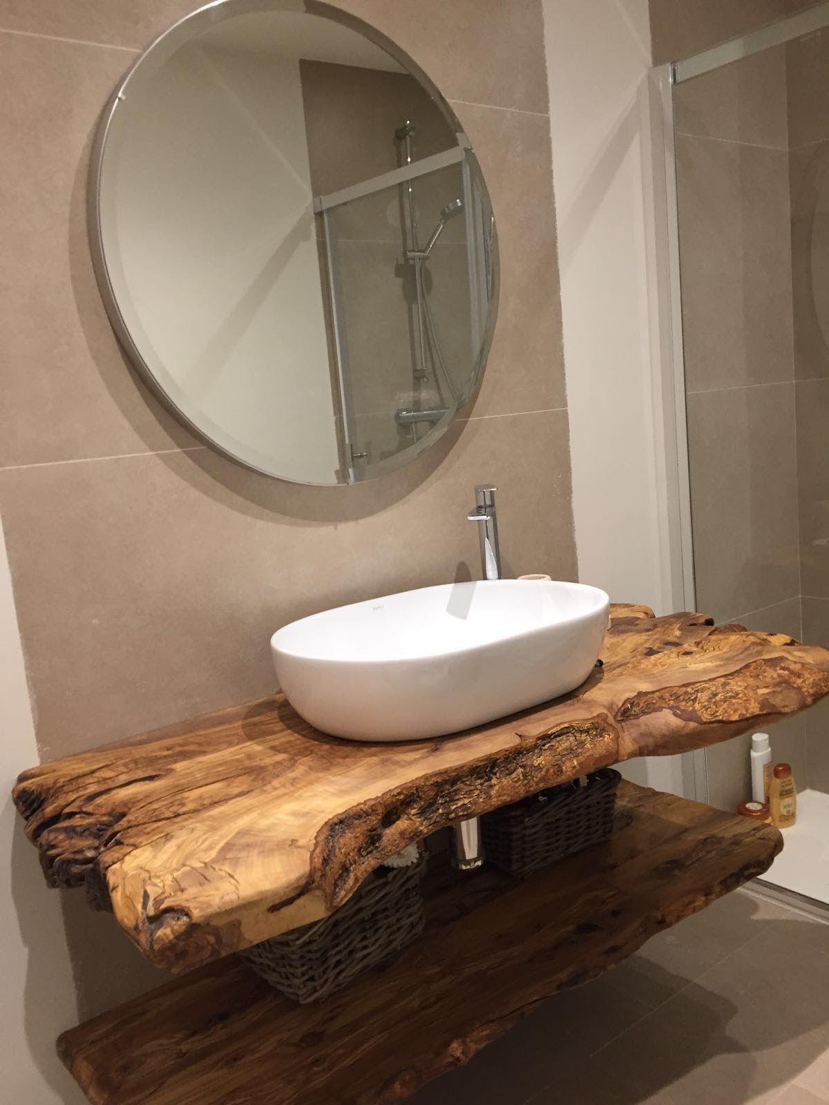 encimera de baño de madera de olivo | Muebles de baño ...