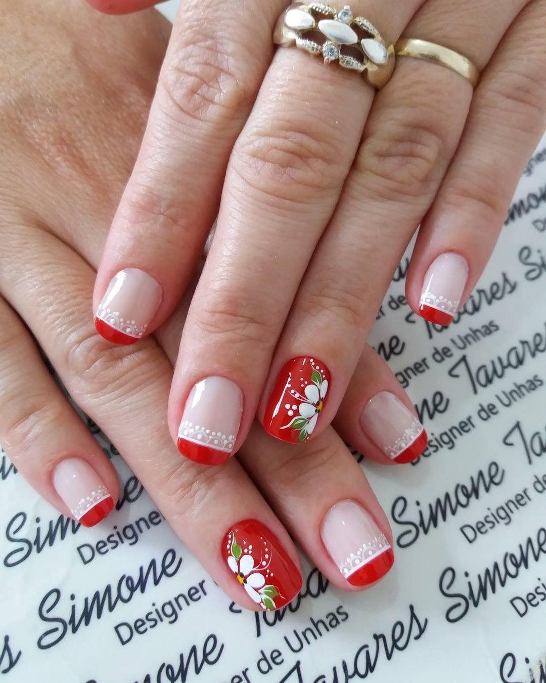 Uñas rojas flores | Uñas rojas, Diseños de uñas rojas ...