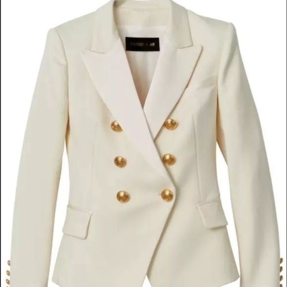 BALMAIN X H&M Limited Ed. Cream Blazer Jacket 4 Fitted double ...