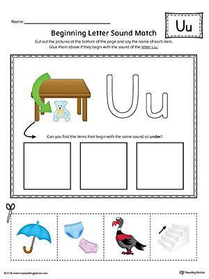 Short Letter U Beginning Sound Picture Match Worksheet Colorg