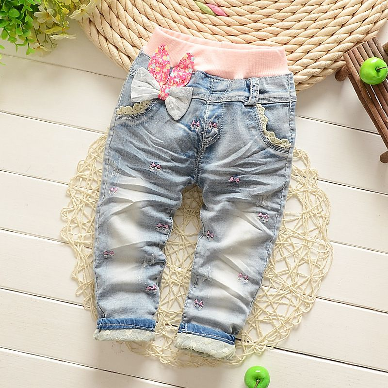 8abe11c5a116 Baby Girl Clothes Lace Flower Cotton Baby Girls Jeans Pants Trousers ...