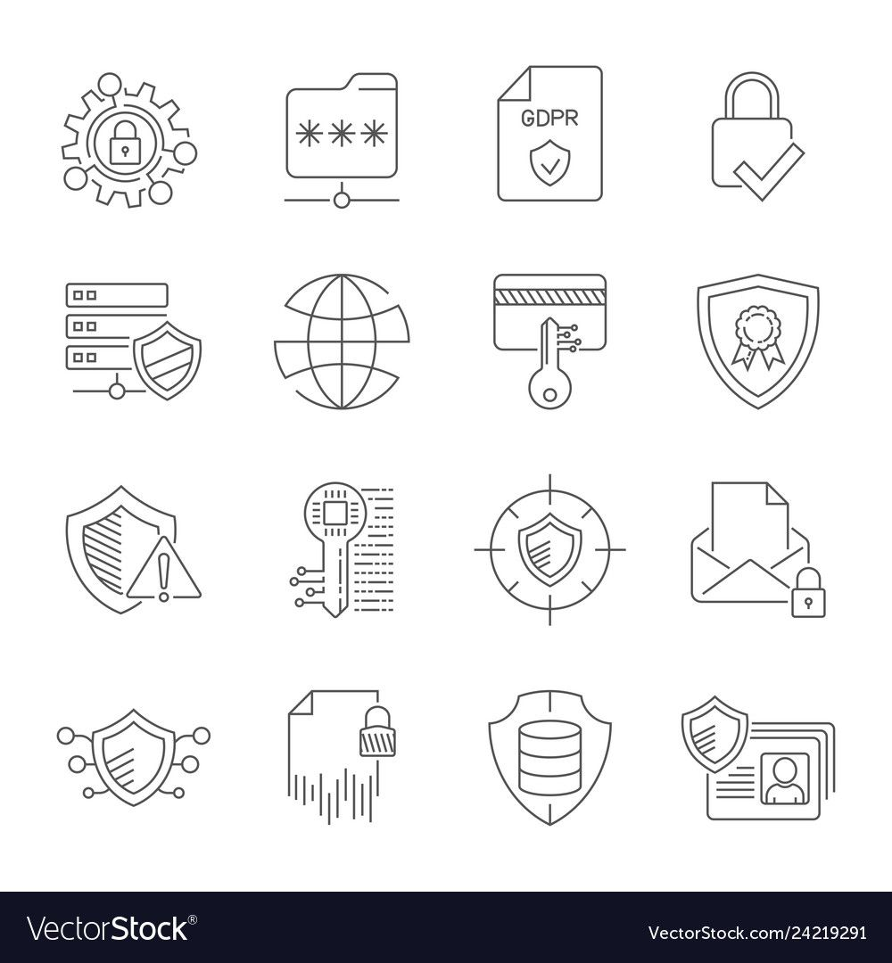 Gdpr Privacy Policy Icon Set Included The Icons Vector Image Ad Policy Icon Gdpr Privacy Ad In 2020 Logo Design Template Vector Free Vector Images