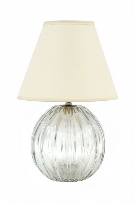 Ribbed glass ball lamp by Daum with shade. France, circa 1950.