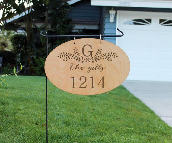 Personalized Wood Garden Flag Custom Family Yard Sign Address Yard Sign Hanging Family Name Sign Garden Yard Flag Hngw Oval The Gills Garden In The Woods Address Signs For Yard Yard Signs