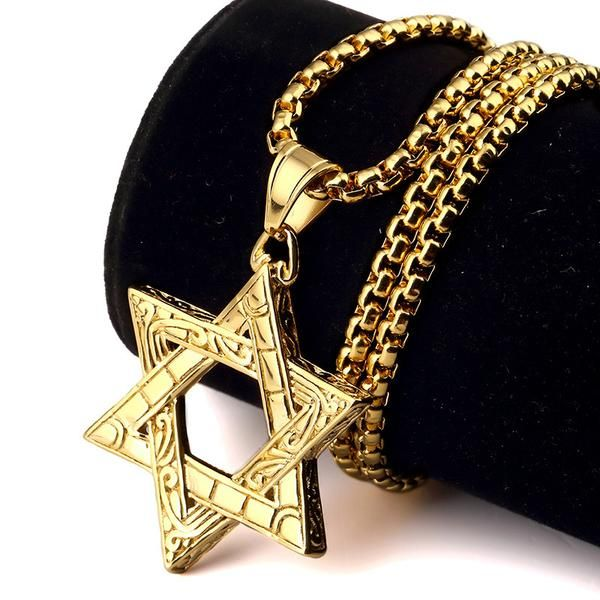 Mens Star Of David Necklace Gold