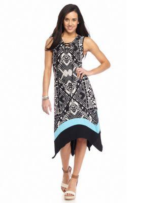 New Directions  Petite Lace-Up Handkerchief Hem Dress