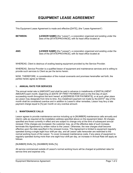 Equipment Lease Agreement - Template & Sample Form | Biztree.com ...