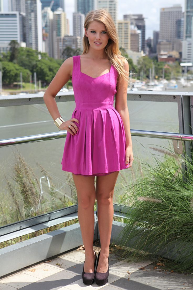 Women\'s Hot Pink Skater Dress, Dark Brown Suede Pumps, Gold Bracelet ...