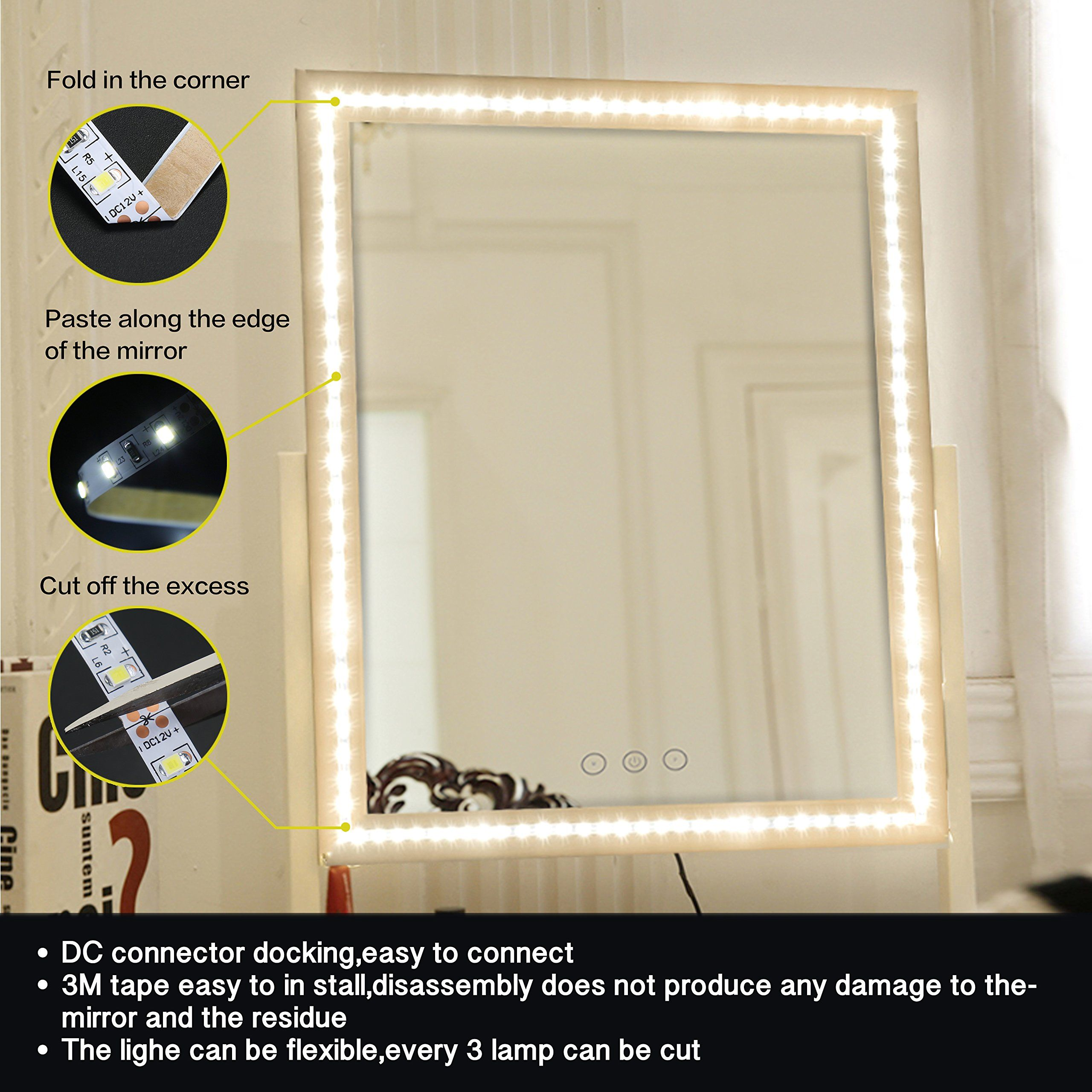 Meilly Led Vanity Mirror Lights Kit Diy Cosmetic Makeup Mirror Lamp 13ft 4m 240 Led Flexible Light Strip Kit F Mirror Mirror With Lights Bathroom Mirror Lights