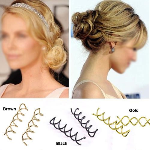 5 PCS Pearl Spiral Spin Screw Bobby Pin Hair Clips Lady Twist Barrette Accessory