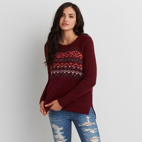 AEO Textured Pullover Sweater ($37) ❤ liked on Polyvore featuring ...