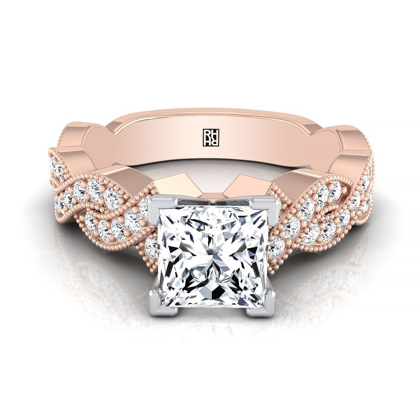 Princess cut diamond engagement ring with twined pave shank and