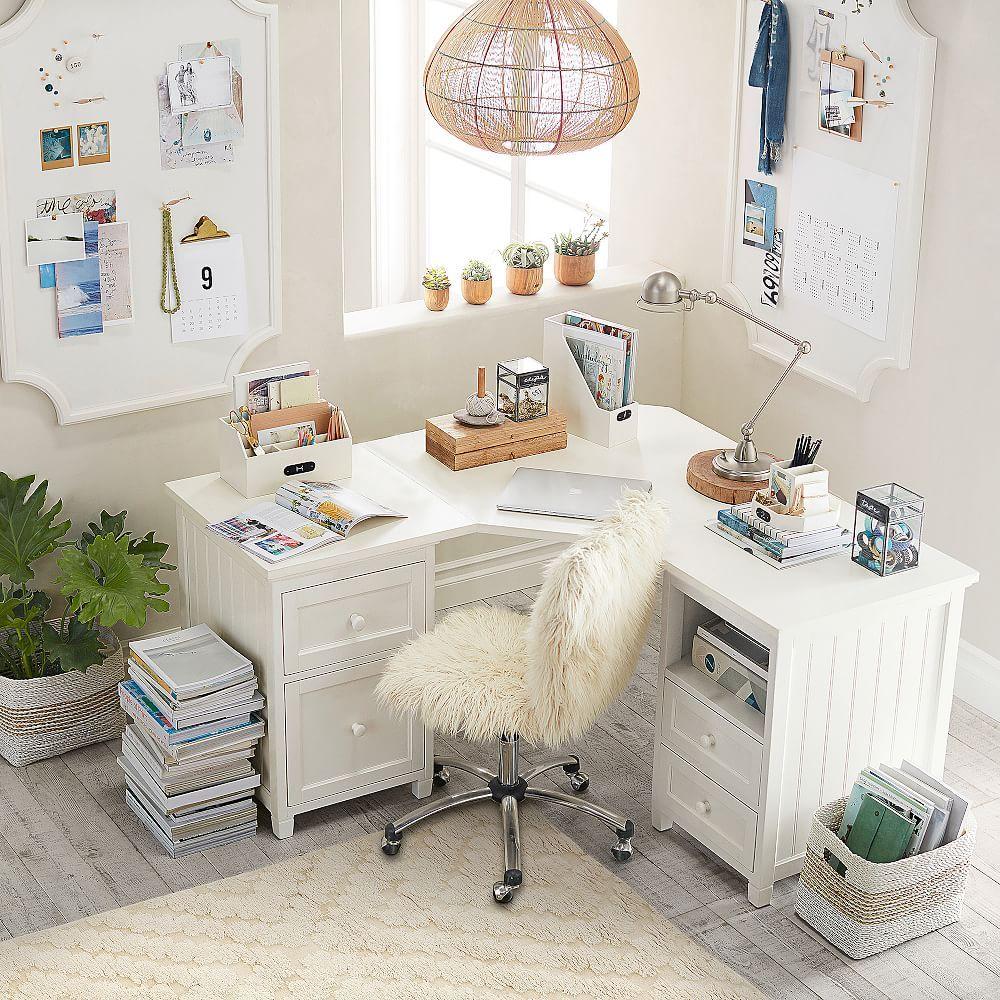 Beadboard Smart Corner Desk   White corner desk, Corner ...