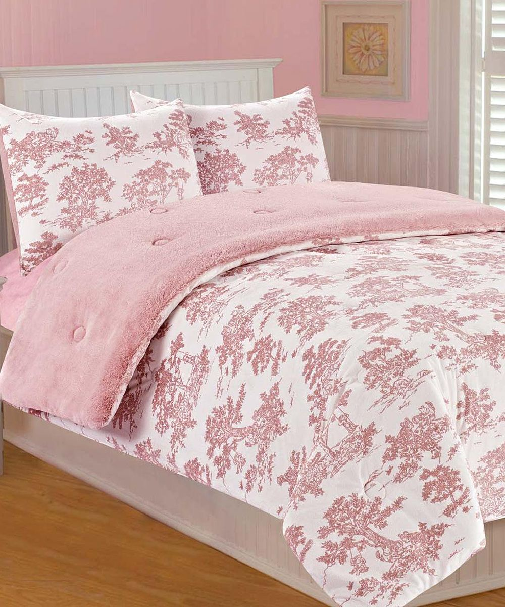 Pink Toile Microplush Bedding Set Toile bedding, Bed