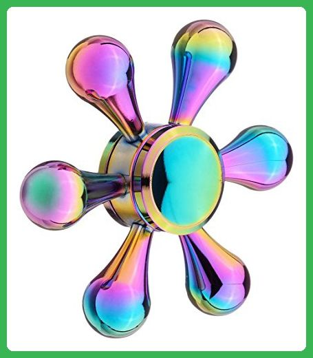 HTOYES Fidget Hand Spinner Rainbow Colorful Bright Plating Water Droplets Fingertip Low Noise Metal