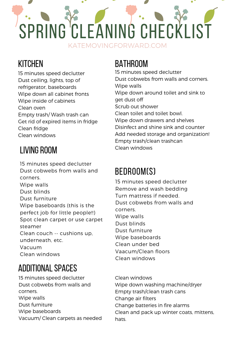 photograph regarding Spring Cleaning Checklist Printable identified as Very simple Spring Cleansing List for Lazy Women of all ages Mother Lifestyle