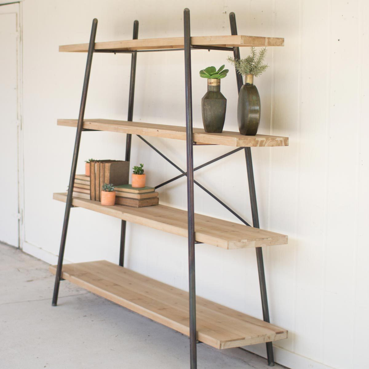 Four tiered wood u metal display shelf products pinterest