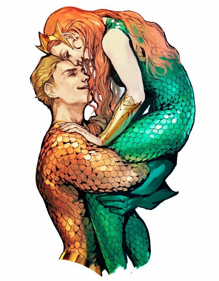Aquaman and Mera. This is just too cute.