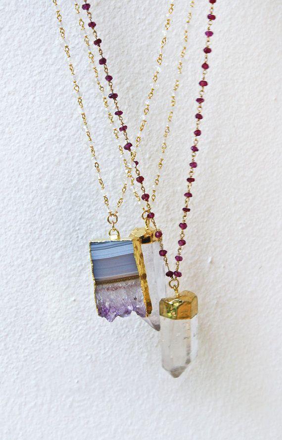 QUARTZ wire wrapped rosary necklace | Pinterest | Rosenkranz ...