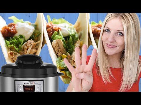 4 Ingredient Instant Pot Shredded Chicken Tacos - Dump and Go Recipe - YouTube #shreddedchickentacos