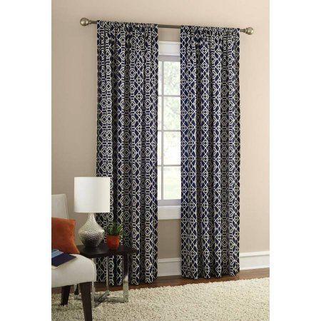 Mainstays Layered Trellis Room Darkening Curtain Panel Walmart
