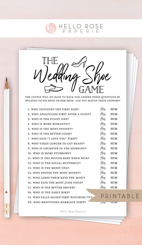 The Wedding Shoe Game . Bridal Wedding Couples Shower