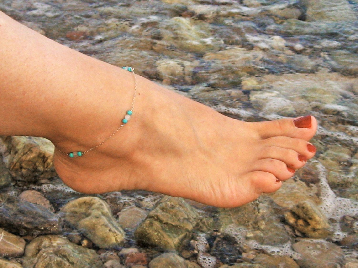 silver ankle bracelets sterling turquoise handcrafted pin jewelry beach anklet foot bracelet
