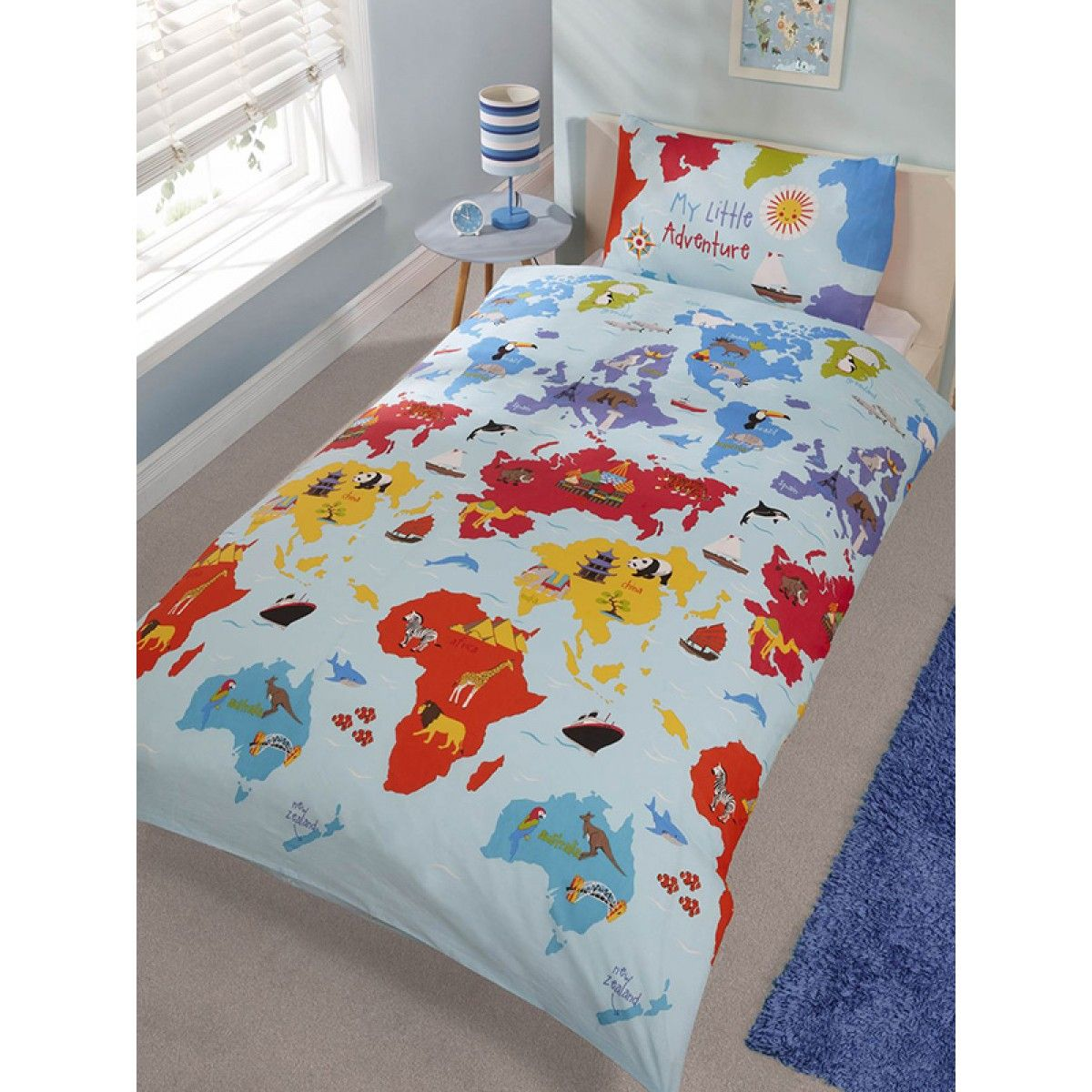 Little adventure single duvet cover and pillowcase set single this little adventure single duvet cover and pillowcase set features a cool world map theme with gumiabroncs Images