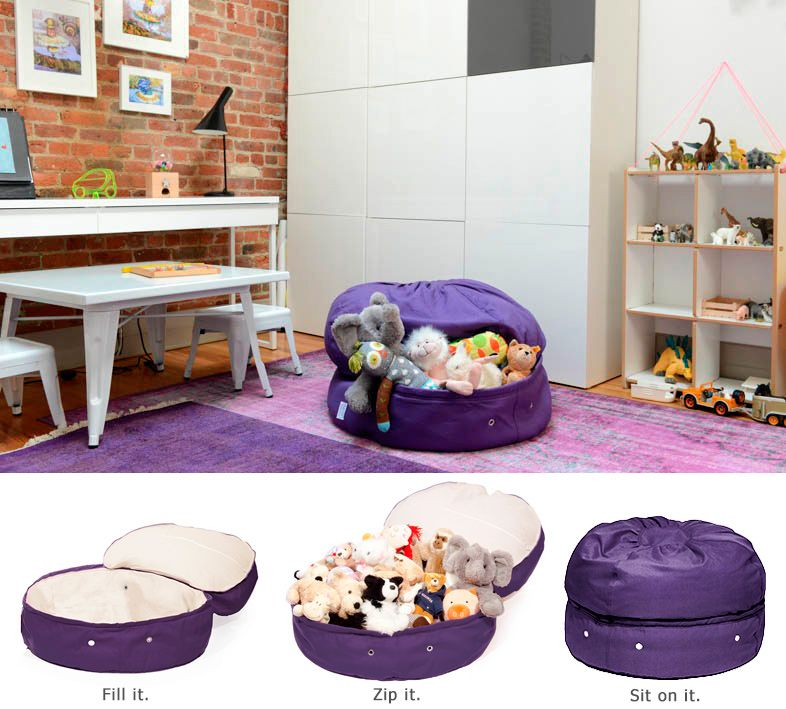 bean bag storage chair dxracer india clean up clutter knoxy baby pinterest cool stuff and mimish designs toy secret spaces plastic bins kids