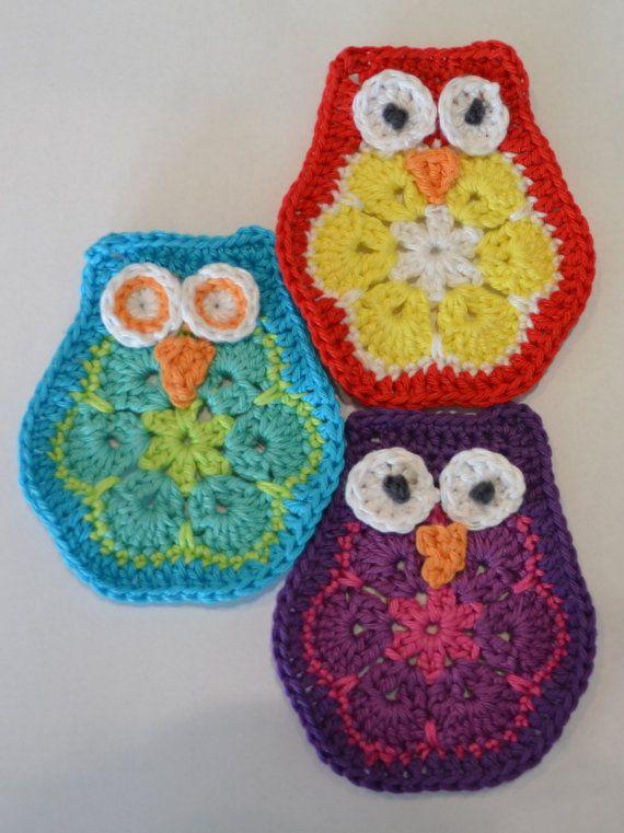 Haak patroon owl african flower / Crochet pattern owl african flower on Etsy, € 2,50