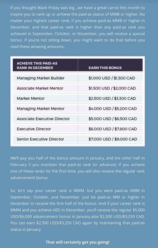 Monat Just Announced Holiday Bonuses For Rank Advancement