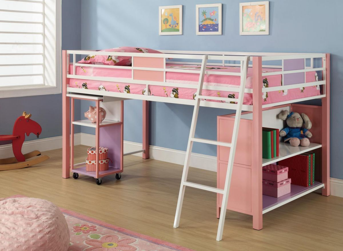 Twin loft bed dimensions  New twin size loft bed in super cute pink purple and white finish