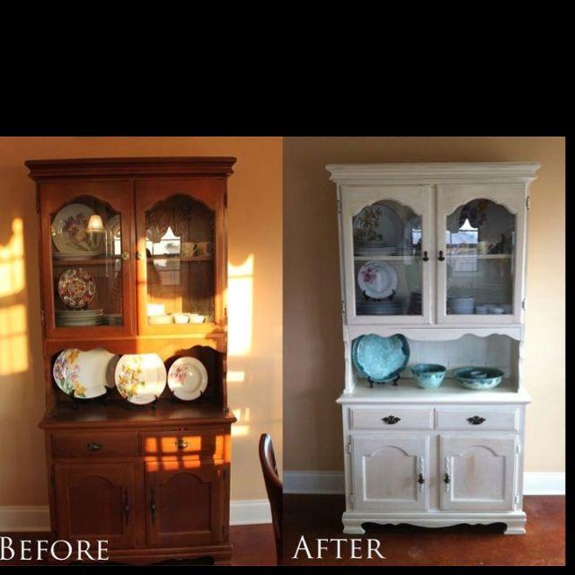 Refinish Old Kitchen Cabinets: Refinished Antique China Cabinet...vintage White