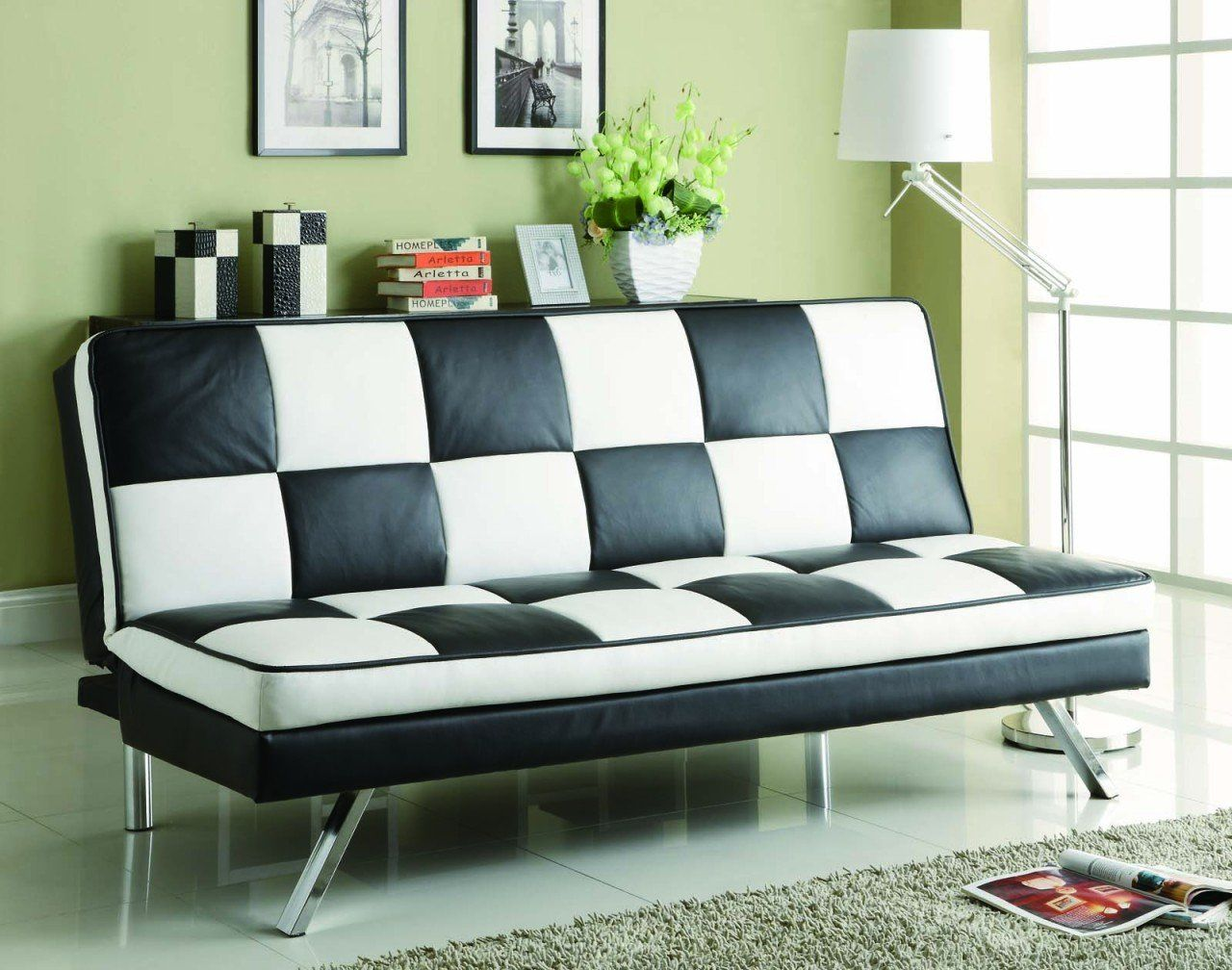 black and white retro checkered sofa bed by coaster  rather inexpensive  black and white retro checkered sofa bed by coaster  rather      rh   pinterest