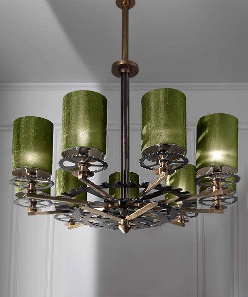 Lámpara de techo de nueve brazos, con engranajes Lamparas