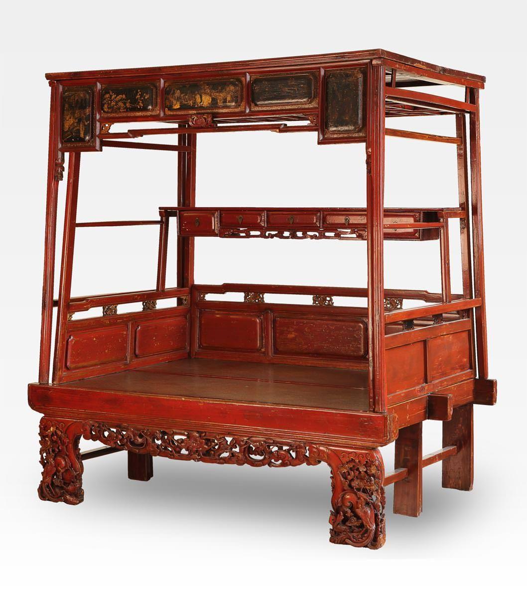 Le Cinesi A Letto.Cod 0008 0051 Antico Letto Cinese H 215 Cm L 233 Cm P